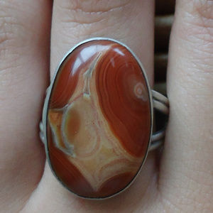Boho 70s Oxblood Agate & Silver Ring 10 Unisex